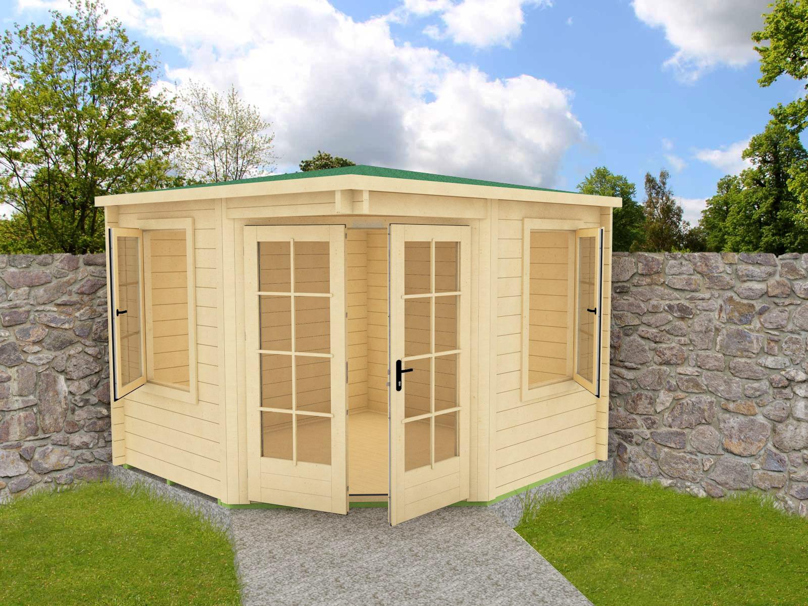 Casette in legno ad angolo for Soluzioni giardino in pendenza